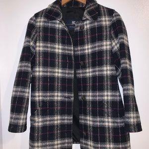 BURBURRY 100% wool plaid coat amazing condition XS